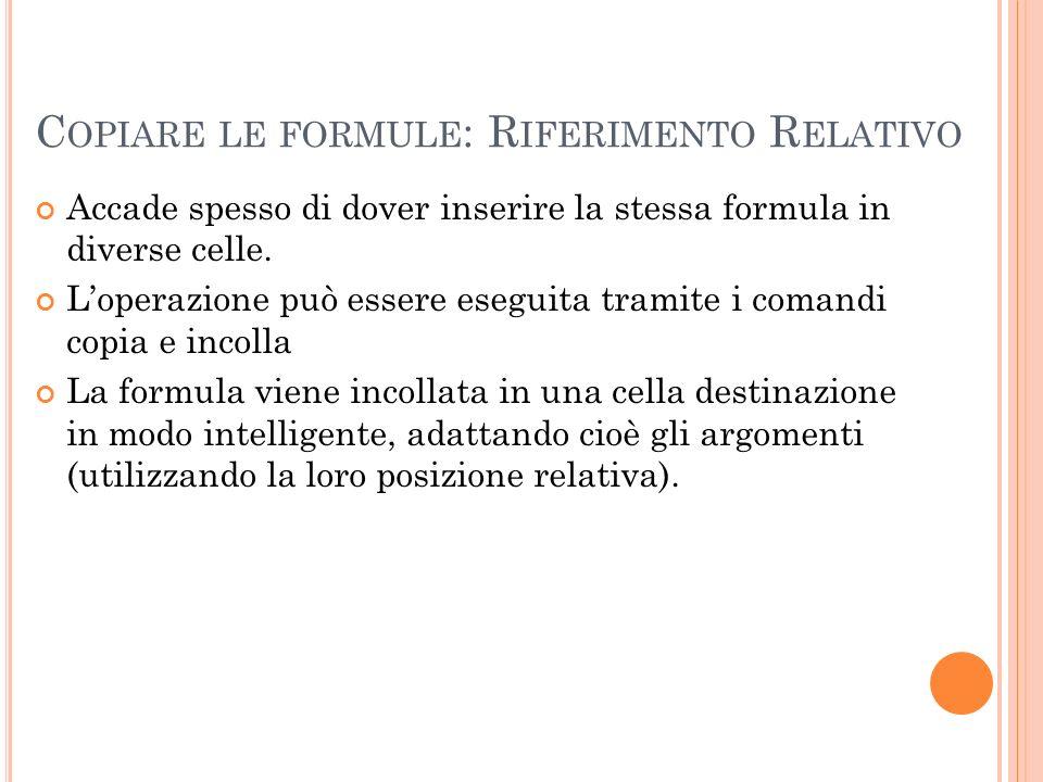 C OPIARE LE FORMULE : R IFERIMENTO R ELATIVO Accade spesso di dover inserire la stessa formula in diverse celle. Loperazione può essere eseguita trami