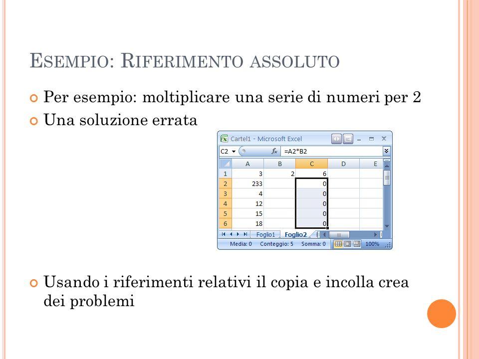 E SEMPIO : R IFERIMENTO ASSOLUTO Per esempio: moltiplicare una serie di numeri per 2 Una soluzione errata Usando i riferimenti relativi il copia e inc