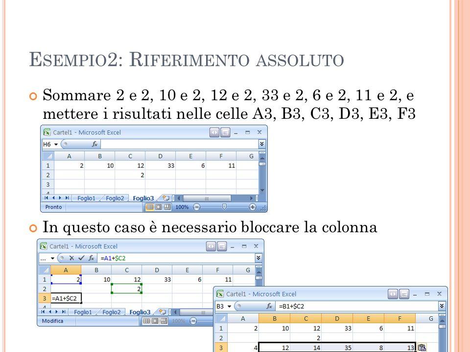 E SEMPIO 2: R IFERIMENTO ASSOLUTO Sommare 2 e 2, 10 e 2, 12 e 2, 33 e 2, 6 e 2, 11 e 2, e mettere i risultati nelle celle A3, B3, C3, D3, E3, F3 In qu