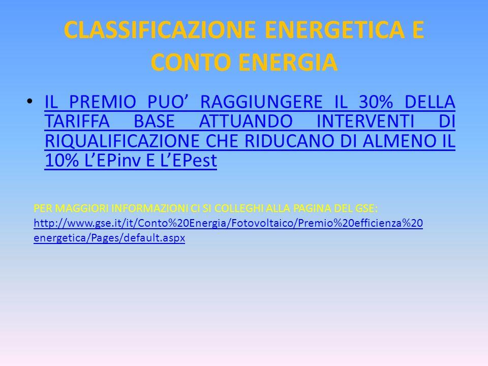 CLASSIFICAZIONE ENERGETICA E CONTO ENERGIA IL PREMIO PUO RAGGIUNGERE IL 30% DELLA TARIFFA BASE ATTUANDO INTERVENTI DI RIQUALIFICAZIONE CHE RIDUCANO DI