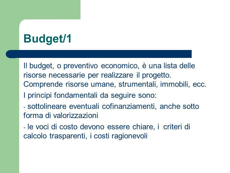 Budget/1 Il budget, o preventivo economico, è una lista delle risorse necessarie per realizzare il progetto. Comprende risorse umane, strumentali, imm