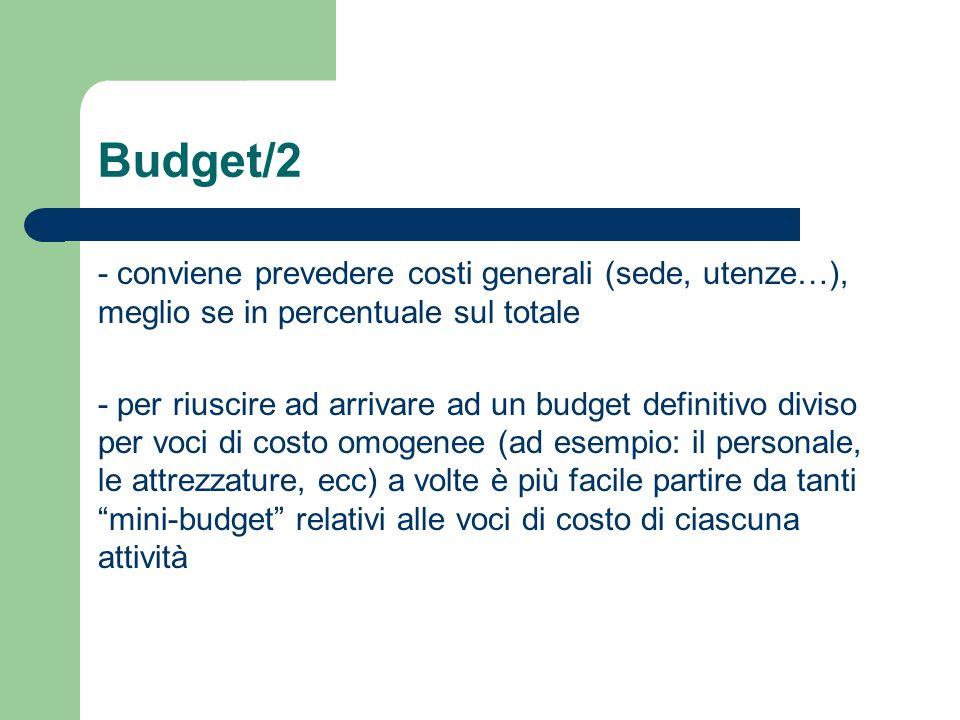 Budget/2 - conviene prevedere costi generali (sede, utenze…), meglio se in percentuale sul totale - per riuscire ad arrivare ad un budget definitivo d