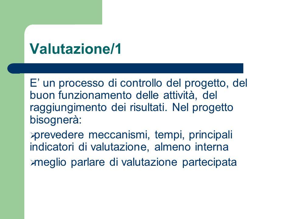 Valutazione/1 E un processo di controllo del progetto, del buon funzionamento delle attività, del raggiungimento dei risultati. Nel progetto bisognerà