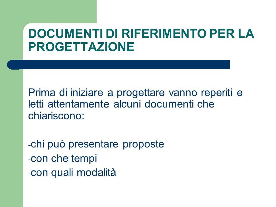DOCUMENTI DI RIFERIMENTO PER LA PROGETTAZIONE Prima di iniziare a progettare vanno reperiti e letti attentamente alcuni documenti che chiariscono: - c