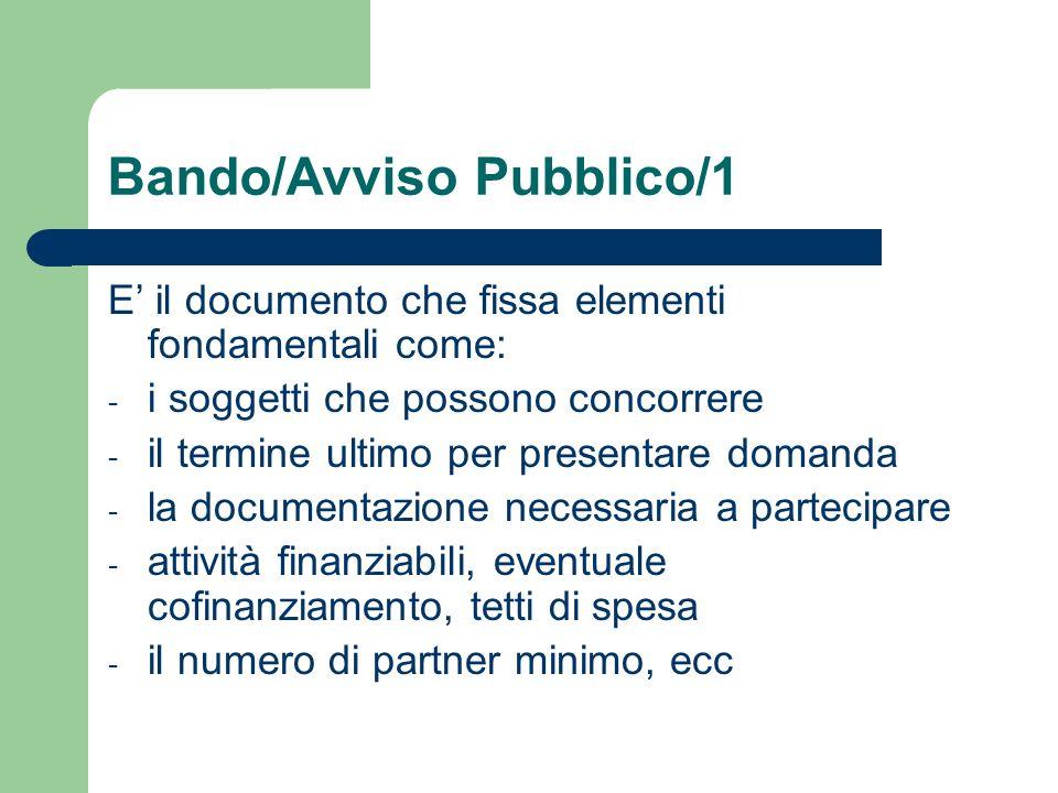 Bando/Avviso Pubblico/1 E il documento che fissa elementi fondamentali come: - i soggetti che possono concorrere - il termine ultimo per presentare do