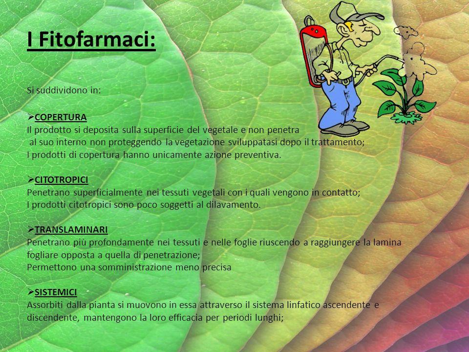 I Fitofarmaci: Si suddividono in: COPERTURA Il prodotto si deposita sulla superficie del vegetale e non penetra al suo interno non proteggendo la vegetazione sviluppatasi dopo il trattamento; I prodotti di copertura hanno unicamente azione preventiva.