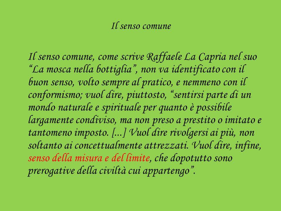 Il senso comune Il senso comune, come scrive Raffaele La Capria nel suo La mosca nella bottiglia, non va identificato con il buon senso, volto sempre
