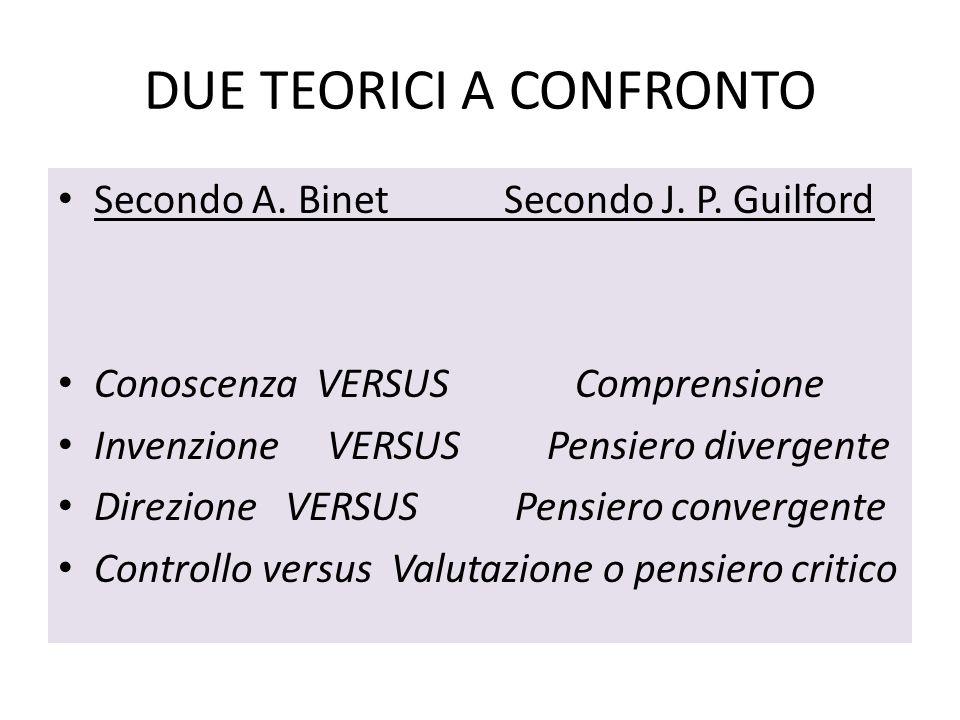 DUE TEORICI A CONFRONTO Secondo A. Binet Secondo J. P. Guilford Conoscenza VERSUS Comprensione Invenzione VERSUS Pensiero divergente Direzione VERSUS