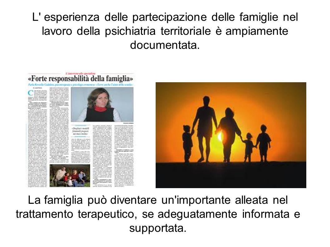 L' esperienza delle partecipazione delle famiglie nel lavoro della psichiatria territoriale è ampiamente documentata. La famiglia può diventare un'imp