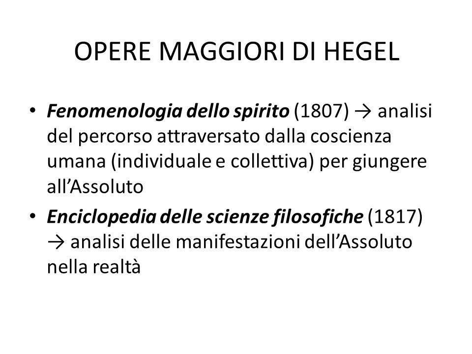 OPERE MAGGIORI DI HEGEL Fenomenologia dello spirito (1807) analisi del percorso attraversato dalla coscienza umana (individuale e collettiva) per giun