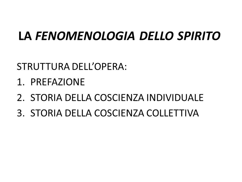 LA FENOMENOLOGIA DELLO SPIRITO STRUTTURA DELLOPERA: 1.PREFAZIONE 2.STORIA DELLA COSCIENZA INDIVIDUALE 3.STORIA DELLA COSCIENZA COLLETTIVA