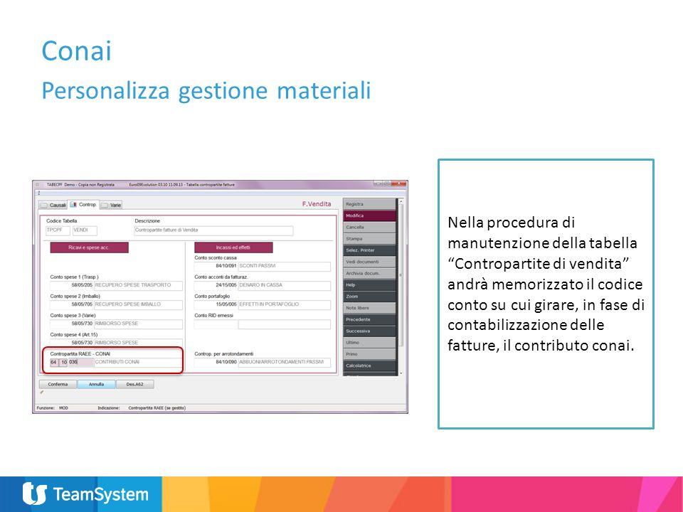 Personalizza gestione materiali Nella procedura di manutenzione della tabella Contropartite di vendita andrà memorizzato il codice conto su cui girare