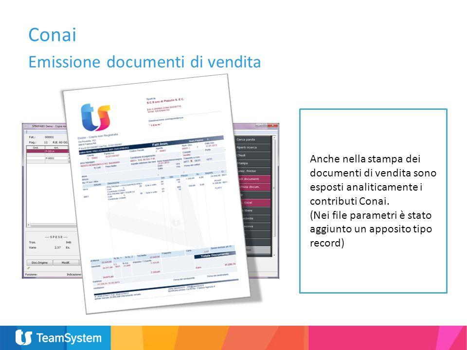 Anche nella stampa dei documenti di vendita sono esposti analiticamente i contributi Conai. (Nei file parametri è stato aggiunto un apposito tipo reco