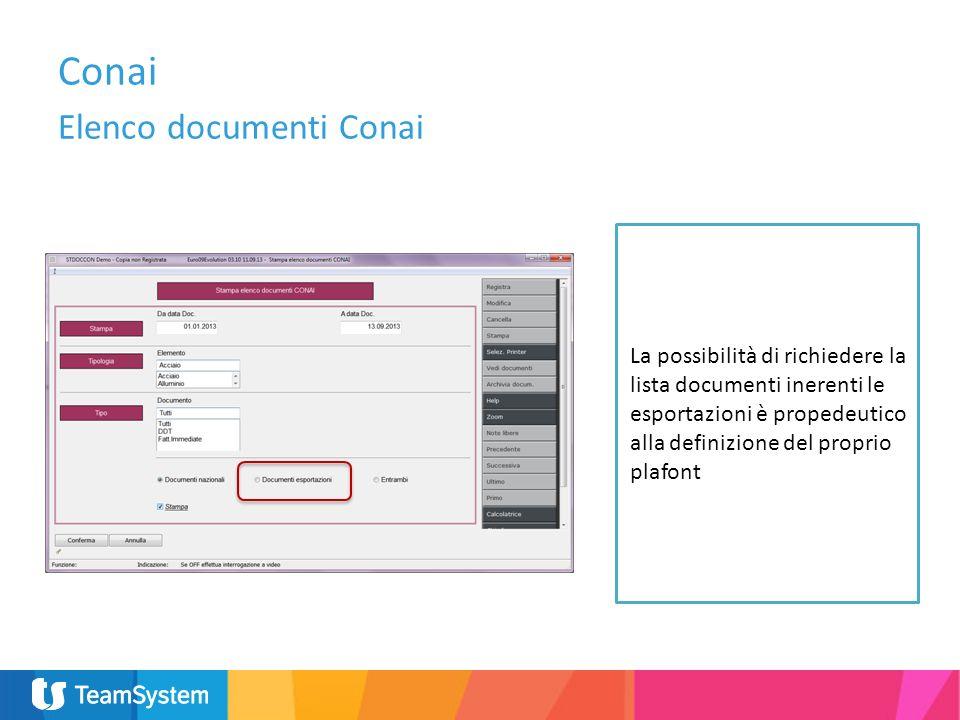 La possibilità di richiedere la lista documenti inerenti le esportazioni è propedeutico alla definizione del proprio plafont Conai Elenco documenti Co
