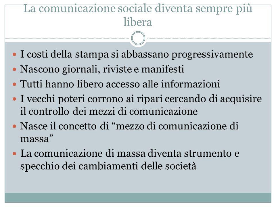 La comunicazione sociale diventa sempre più libera I costi della stampa si abbassano progressivamente Nascono giornali, riviste e manifesti Tutti hann