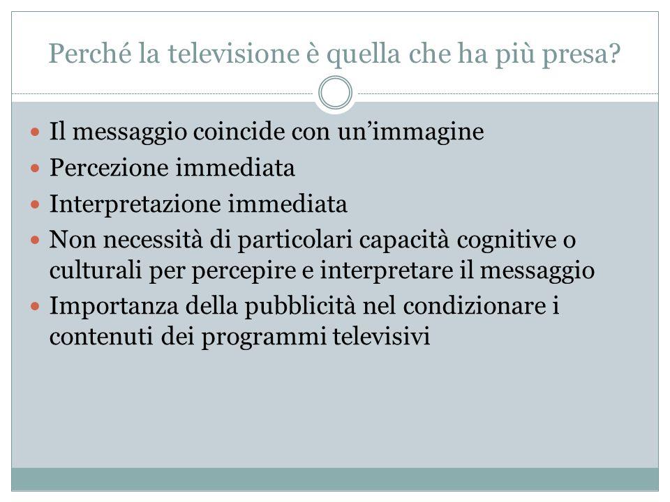 Perché la televisione è quella che ha più presa? Il messaggio coincide con unimmagine Percezione immediata Interpretazione immediata Non necessità di