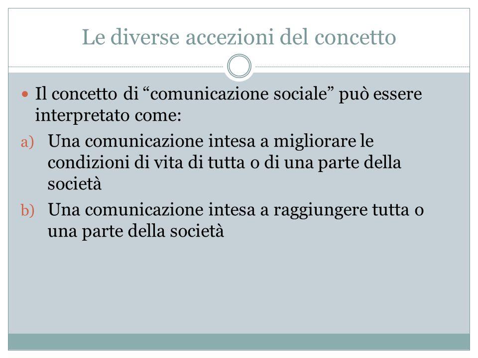 Le diverse accezioni del concetto Il concetto di comunicazione sociale può essere interpretato come: a) Una comunicazione intesa a migliorare le condi