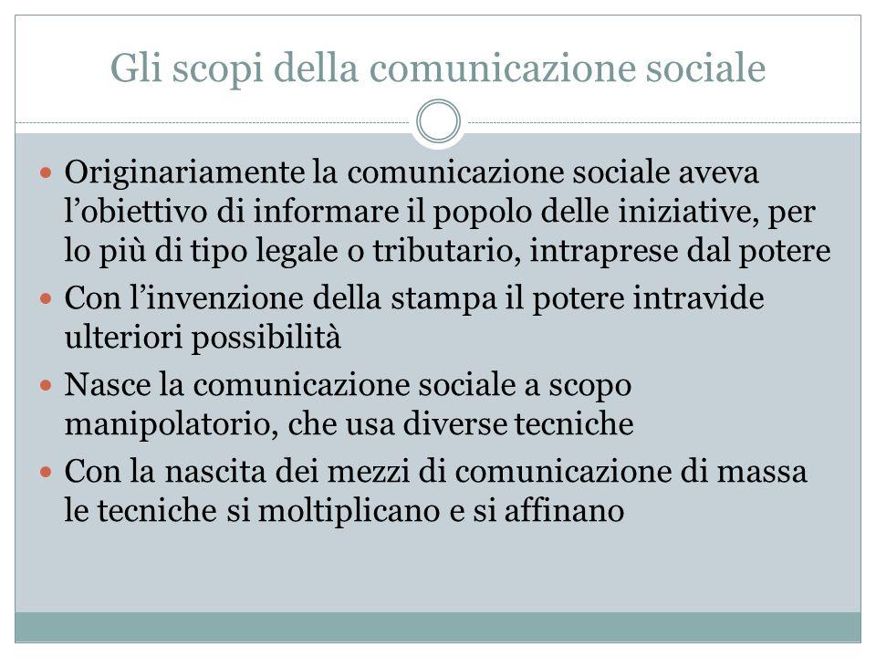 Gli scopi della comunicazione sociale Originariamente la comunicazione sociale aveva lobiettivo di informare il popolo delle iniziative, per lo più di