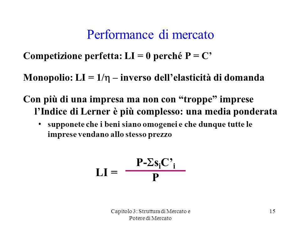 Capitolo 3: Struttura di Mercato e Potere di Mercato 15 Performance di mercato Competizione perfetta: LI = 0 perché P = C Monopolio: LI = 1/ – inverso dellelasticità di domanda Con più di una impresa ma non con troppe imprese lIndice di Lerner è più complesso: una media ponderata supponete che i beni siano omogenei e che dunque tutte le imprese vendano allo stesso prezzo LI = P- s i C i P