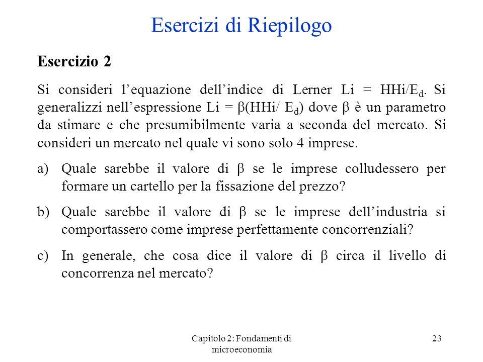 Capitolo 2: Fondamenti di microeconomia 23 Esercizio 2 Si consideri lequazione dellindice di Lerner Li = HHi/E d.