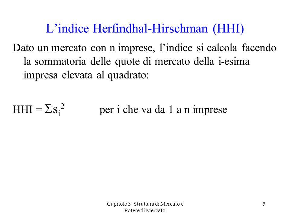 Capitolo 3: Struttura di Mercato e Potere di Mercato 5 Lindice Herfindhal-Hirschman (HHI) Dato un mercato con n imprese, lindice si calcola facendo la sommatoria delle quote di mercato della i-esima impresa elevata al quadrato: HHI = s i 2 per i che va da 1 a n imprese
