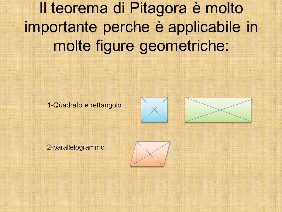 Il teorema di Pitagora è molto importante perche è applicabile in molte figure geometriche: 1-Quadrato e rettangolo 2-parallelogrammo