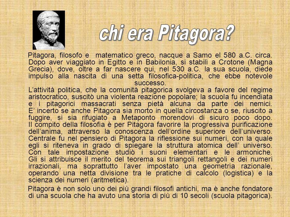 Pitagora, filosofo e matematico greco, nacque a Samo el 580 a.C. circa. Dopo aver viaggiato in Egitto e in Babilonia, si stabilì a Crotone (Magna Grec