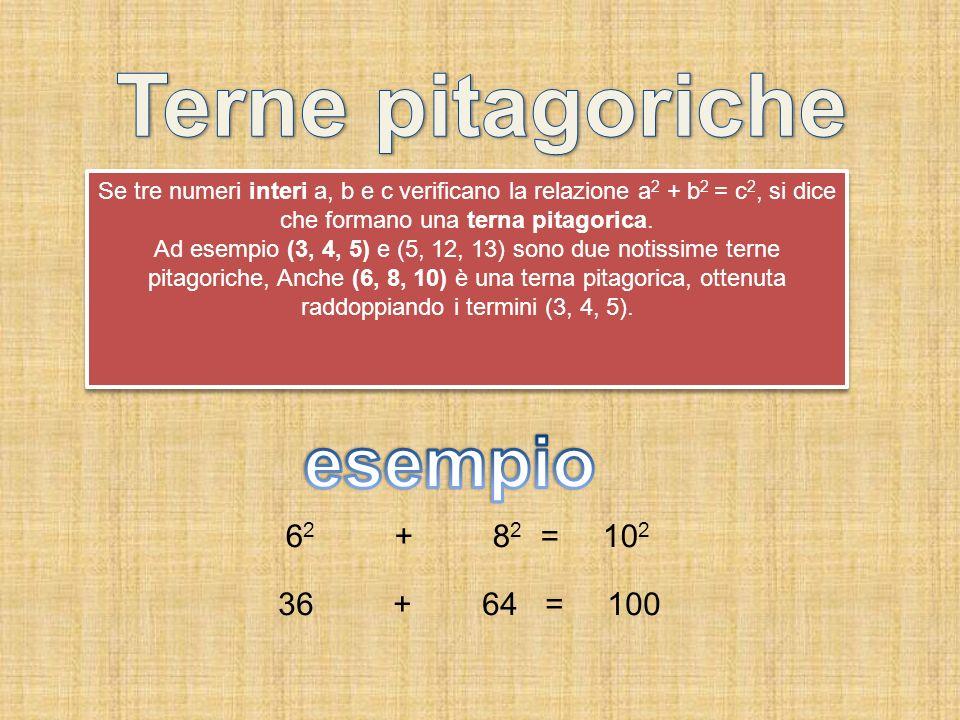 Se tre numeri interi a, b e c verificano la relazione a 2 + b 2 = c 2, si dice che formano una terna pitagorica. Ad esempio (3, 4, 5) e (5, 12, 13) so