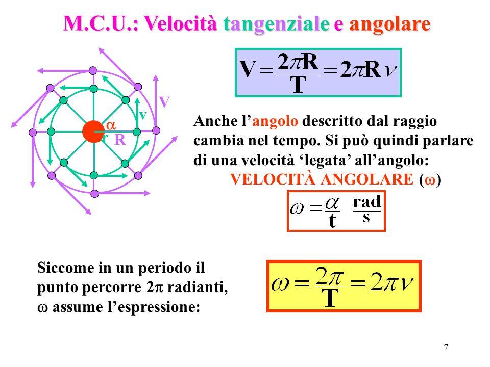 7 M.C.U.: Velocità tangenziale e angolare V v R r Anche langolo descritto dal raggio cambia nel tempo. Si può quindi parlare di una velocità legata al