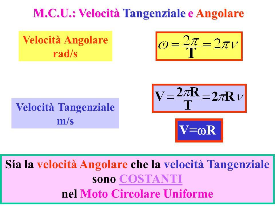 8 M.C.U.: Velocità Tangenziale e Angolare Velocità Tangenziale m/s Velocità Angolare rad/s V= R Sia la velocità Angolare che la velocità Tangenziale s