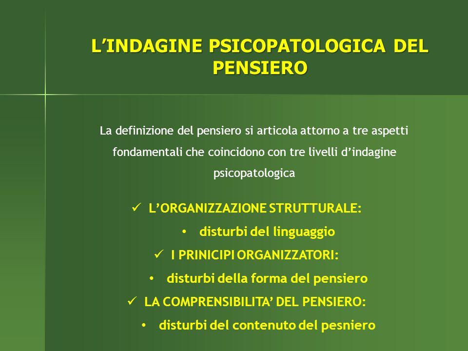 LINDAGINE PSICOPATOLOGICA DEL PENSIERO La definizione del pensiero si articola attorno a tre aspetti fondamentali che coincidono con tre livelli dinda