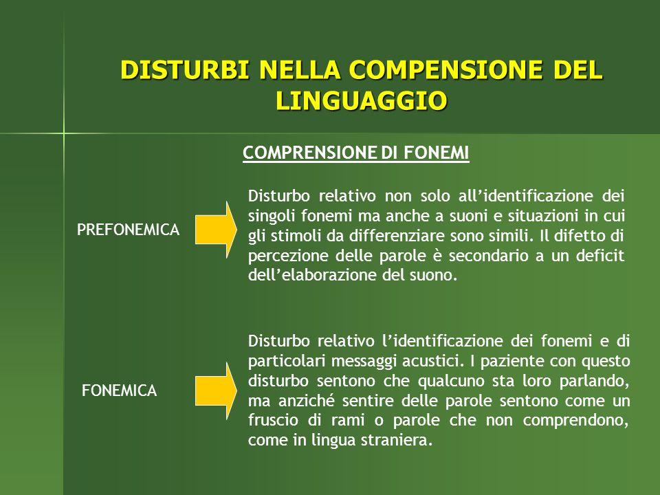 PREFONEMICA FONEMICA Disturbo relativo non solo allidentificazione dei singoli fonemi ma anche a suoni e situazioni in cui gli stimoli da differenziar