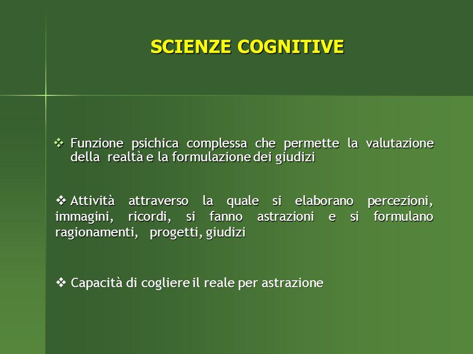 SCIENZE COGNITIVE Funzione psichica complessa che permette la valutazione della realtà e la formulazione dei giudizi Funzione psichica complessa che p