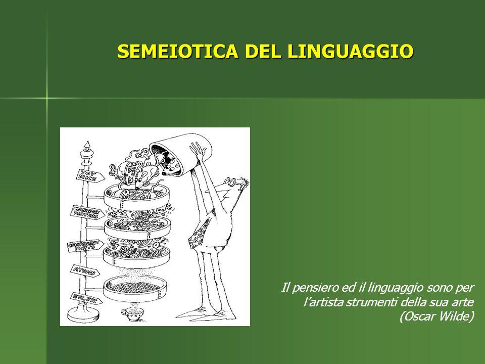SEMEIOTICA DEL LINGUAGGIO Il pensiero ed il linguaggio sono per lartista strumenti della sua arte (Oscar Wilde)