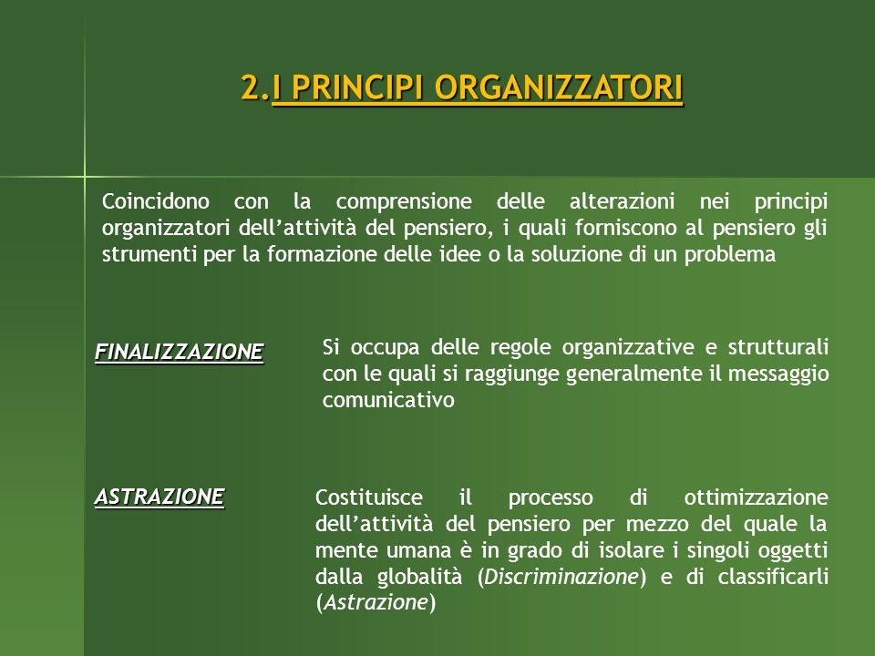 2.I PRINCIPI ORGANIZZATORI Coincidono con la comprensione delle alterazioni nei principi organizzatori dellattività del pensiero, i quali forniscono a