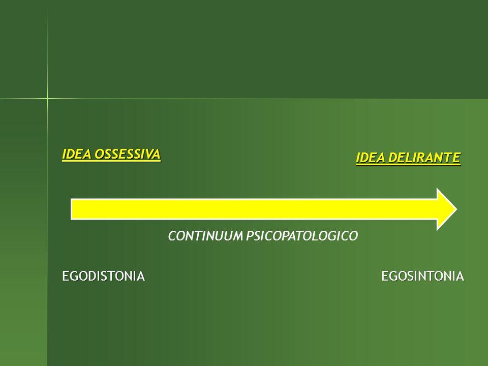 IDEA OSSESSIVA IDEA DELIRANTE EGODISTONIAEGOSINTONIA CONTINUUM PSICOPATOLOGICO