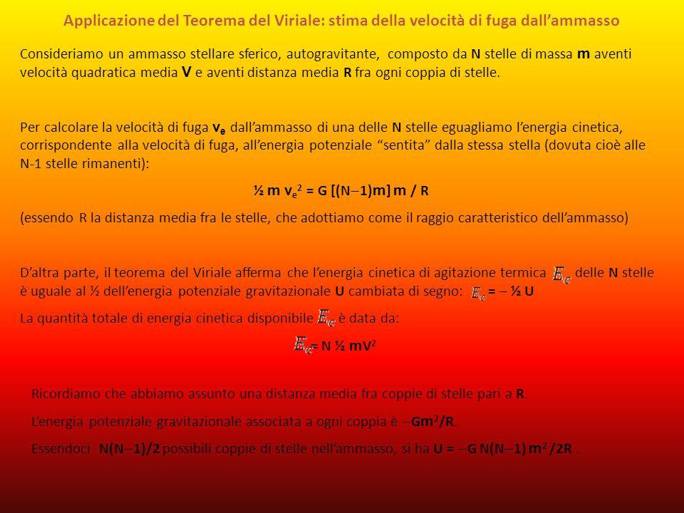 Applicazione del Teorema del Viriale: stima della velocità di fuga dallammasso Consideriamo un ammasso stellare sferico, autogravitante, composto da N