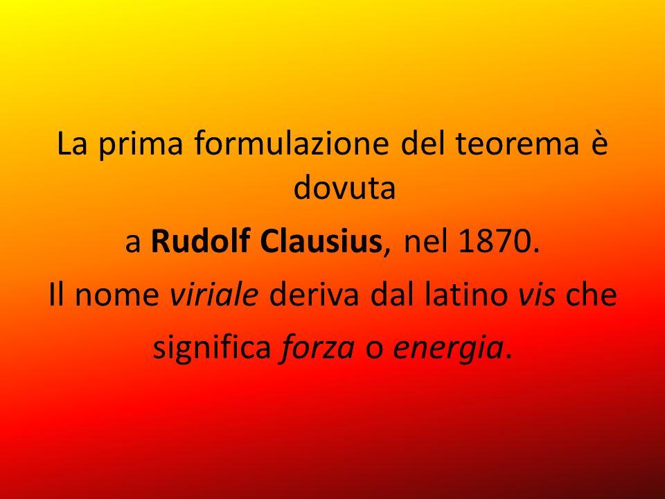 La prima formulazione del teorema è dovuta a Rudolf Clausius, nel 1870. Il nome viriale deriva dal latino vis che significa forza o energia.