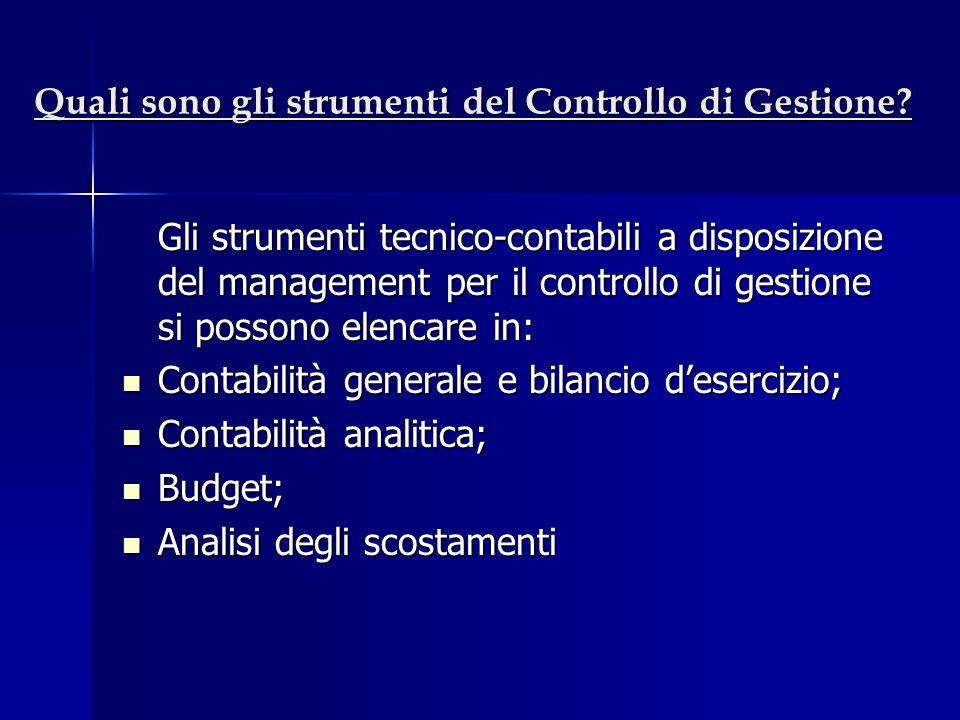 Quali sono gli strumenti del Controllo di Gestione? Gli strumenti tecnico-contabili a disposizione del management per il controllo di gestione si poss
