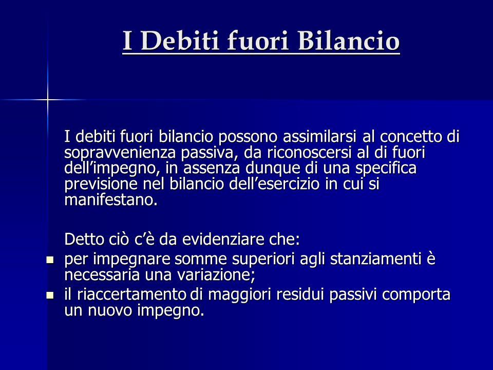 I Debiti fuori Bilancio I debiti fuori bilancio possono assimilarsi al concetto di sopravvenienza passiva, da riconoscersi al di fuori dellimpegno, in assenza dunque di una specifica previsione nel bilancio dellesercizio in cui si manifestano.