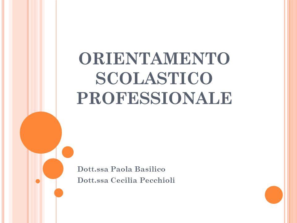 ORIENTAMENTO SCOLASTICO PROFESSIONALE Dott.ssa Paola Basilico Dott.ssa Cecilia Pecchioli