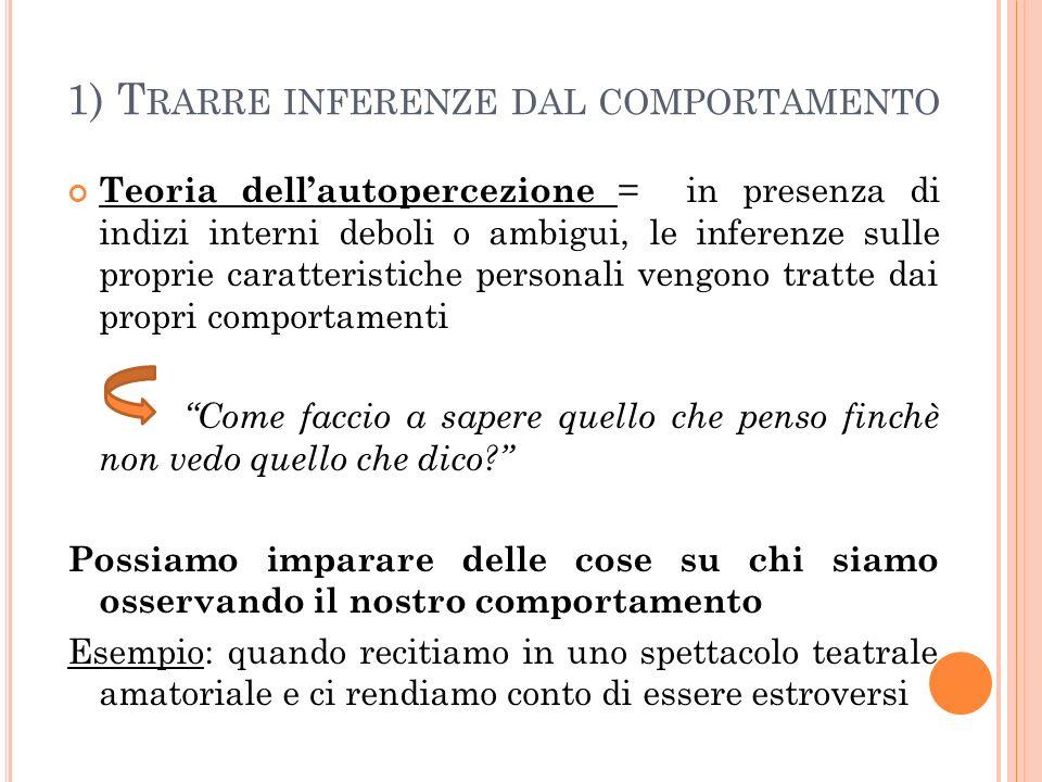1) T RARRE INFERENZE DAL COMPORTAMENTO Teoria dellautopercezione = in presenza di indizi interni deboli o ambigui, le inferenze sulle proprie caratter