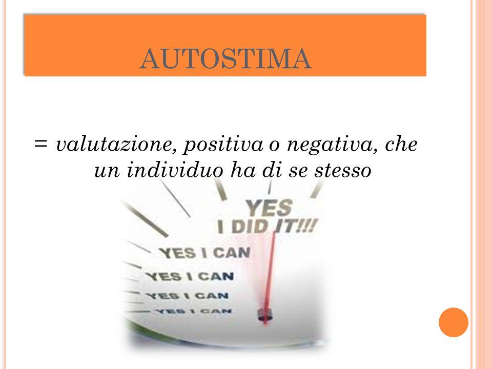 AUTOSTIMA = valutazione, positiva o negativa, che un individuo ha di se stesso