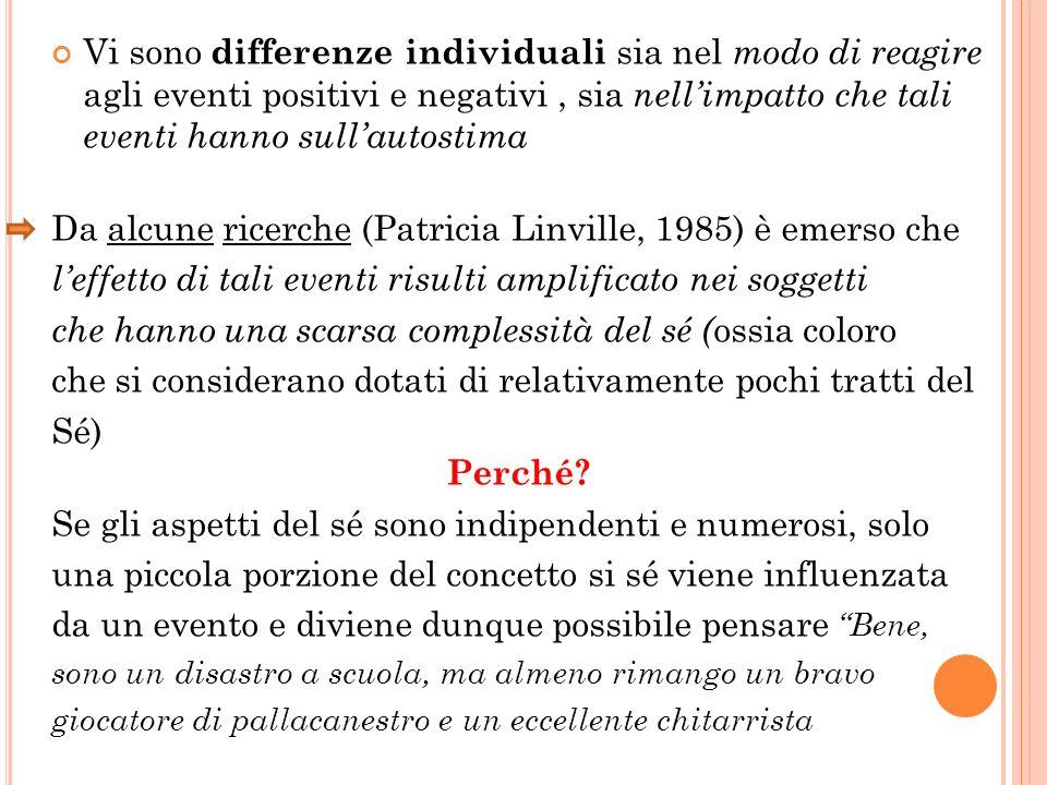 Vi sono differenze individuali sia nel modo di reagire agli eventi positivi e negativi, sia nellimpatto che tali eventi hanno sullautostima Da alcune
