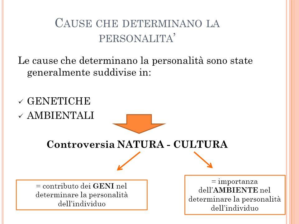 C AUSE CHE DETERMINANO LA PERSONALITA Le cause che determinano la personalità sono state generalmente suddivise in: GENETICHE AMBIENTALI Controversia