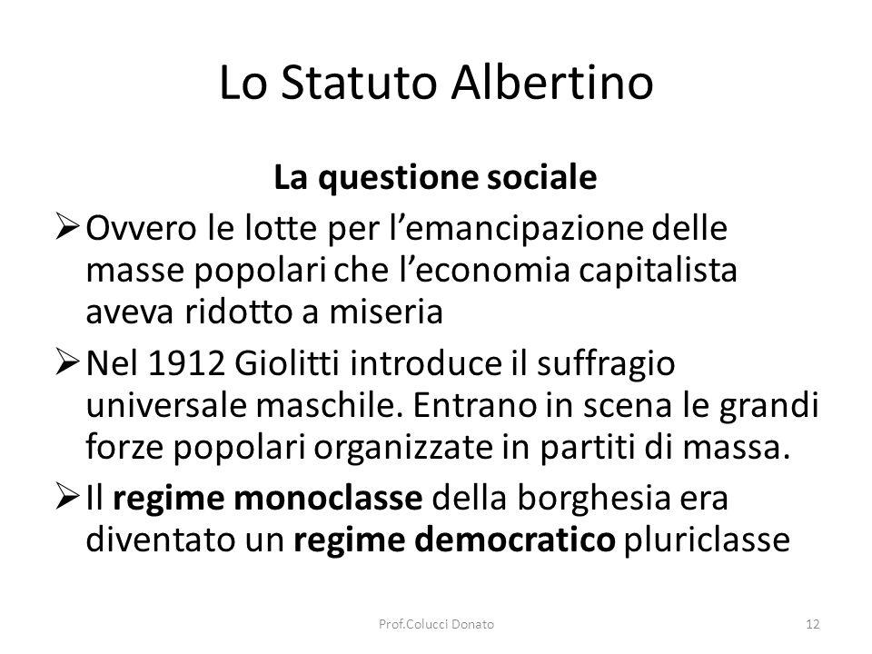Lo Statuto Albertino La questione sociale Ovvero le lotte per lemancipazione delle masse popolari che leconomia capitalista aveva ridotto a miseria Nel 1912 Giolitti introduce il suffragio universale maschile.