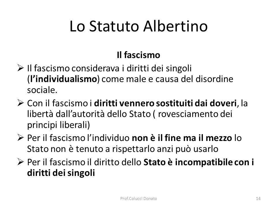 Lo Statuto Albertino Il fascismo Il fascismo considerava i diritti dei singoli (lindividualismo) come male e causa del disordine sociale.