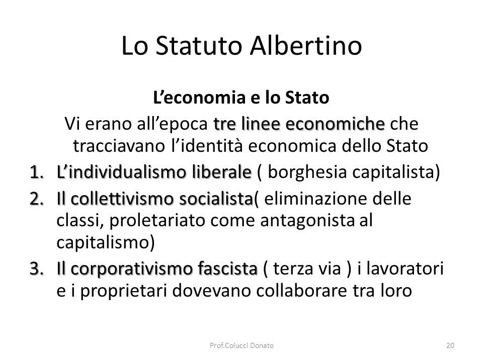 Lo Statuto Albertino Leconomia e lo Stato tre linee economiche Vi erano allepoca tre linee economiche che tracciavano lidentità economica dello Stato 1.Lindividualismo liberale 1.Lindividualismo liberale ( borghesia capitalista) 2.Il collettivismo socialista 2.Il collettivismo socialista( eliminazione delle classi, proletariato come antagonista al capitalismo) 3.Il corporativismo fascista 3.Il corporativismo fascista ( terza via ) i lavoratori e i proprietari dovevano collaborare tra loro 20Prof.Colucci Donato