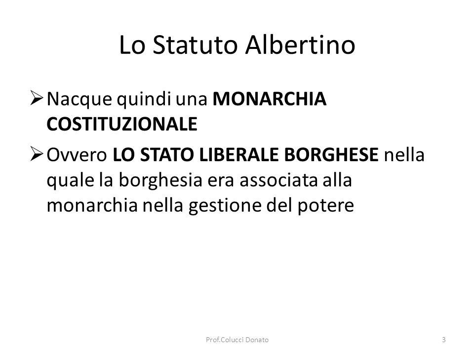 Lo Statuto Albertino Nacque quindi una MONARCHIA COSTITUZIONALE Ovvero LO STATO LIBERALE BORGHESE nella quale la borghesia era associata alla monarchia nella gestione del potere 3Prof.Colucci Donato
