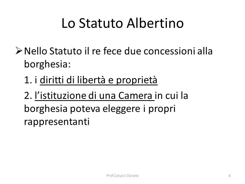 Lo Statuto Albertino Nello Statuto il re fece due concessioni alla borghesia: 1.
